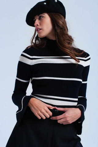 Cream striped black sweater - Epethiya