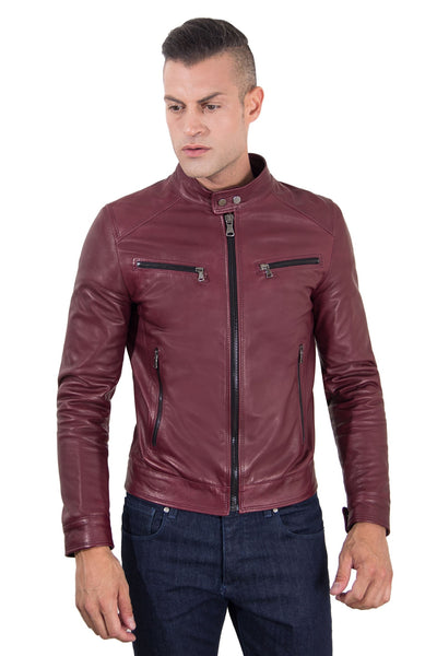 Men's Leather Jacket  korean collar four pockets red purple color Hamilton - Epethiya