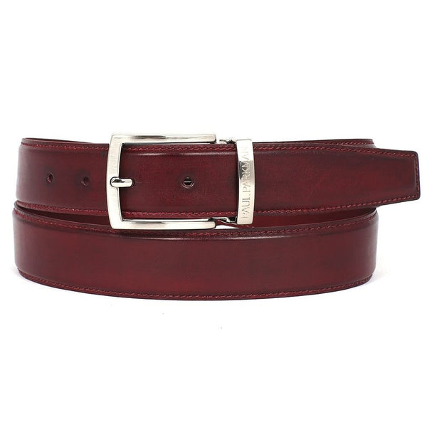 PAUL PARKMAN Men's Leather Belt Hand-Painted Bordeaux (ID#B01-BRD) - Epethiya