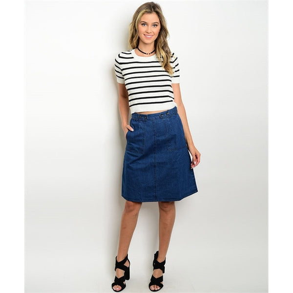 Women's Skirt Dark Denim Jeans Skirt - Epethiya