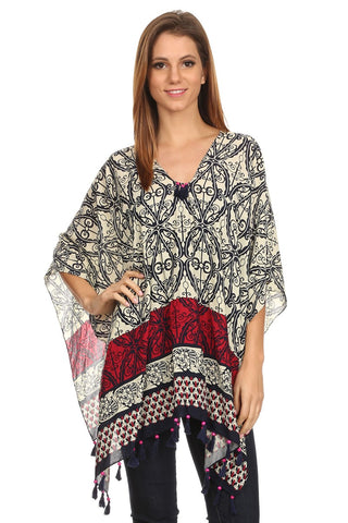 Womens Pullover Lightweight Poncho with Wooden Beaded Tassels - Epethiya