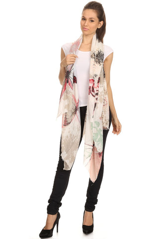 Watercolor Butterfly Print Large Light Weight Blanket Scarf Shawl - Epethiya