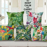 Tropical Plant Hibiscus Flower Pillow case Parrot Cushion Cover - Epethiya