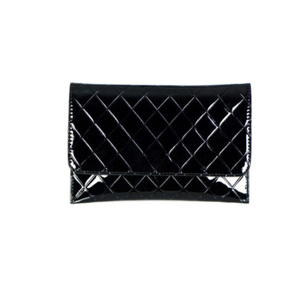 Woman's Handbag Black Leather Quilted Clutch - Epethiya