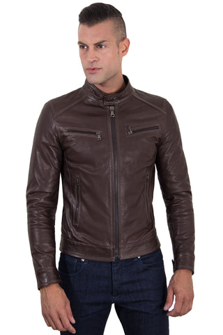 Men's Genuine Leather Biker Jacket brown Color - Epethiya