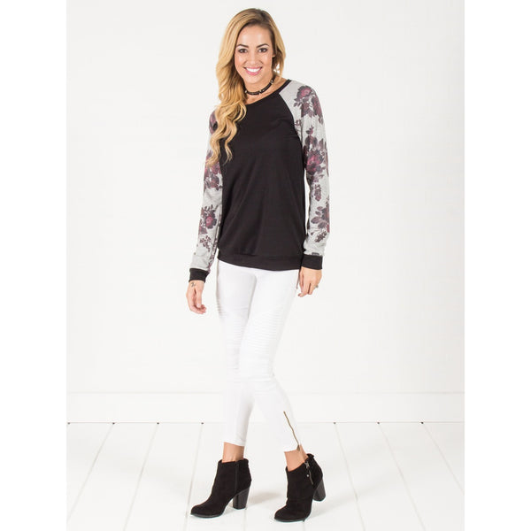 Floral Sleeve Pullover Sweater - Black - Epethiya