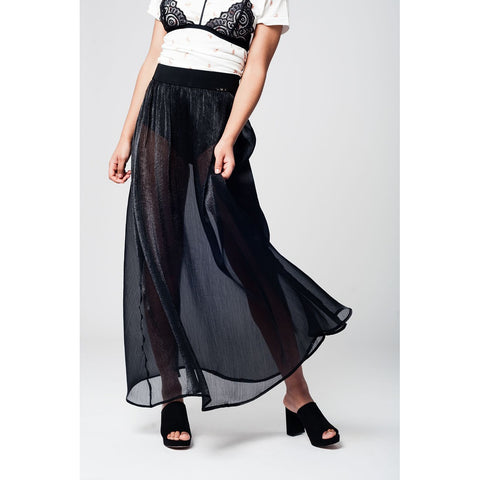 Black maxi skirt in chiffon fabric - Epethiya