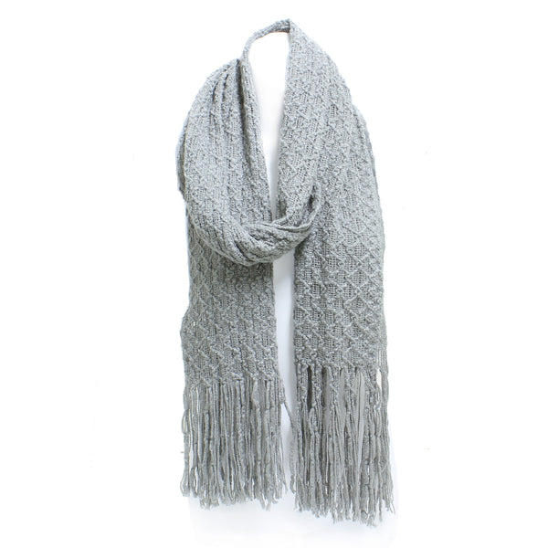 Winter Honeycomb Rectangle Scarf with Fringe - Epethiya