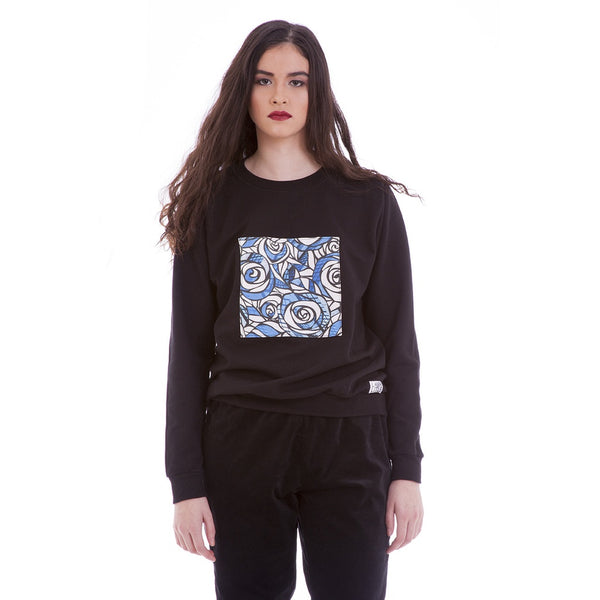 Women's Fashion Sweater - Blue Roses - Epethiya