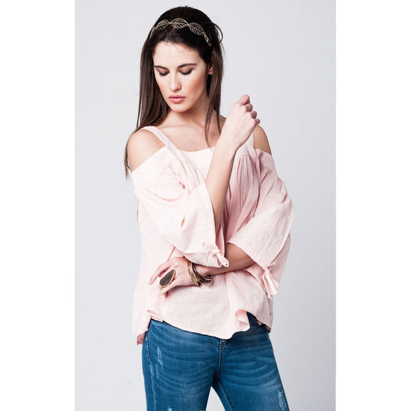Off shoulder pink lace top with angel sleeves - Epethiya