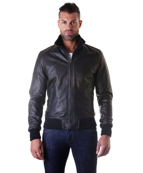 Men's Leather Jacket, genuine soft leather, style bomber, central zip, black color, mod. 107 - Epethiya