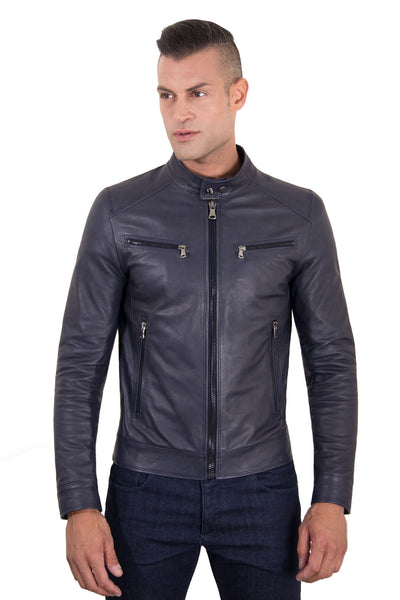 Men's Leather Jacket  korean collar four pockets blue color Hamilton - Epethiya
