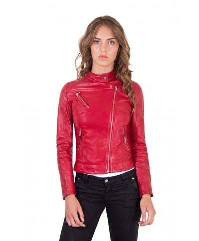 Women's Leather Jacket biker cross zip red color Karim - Epethiya