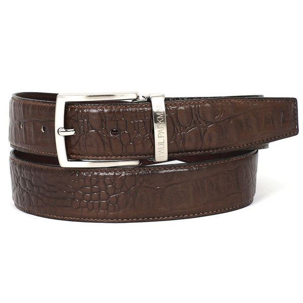 PAUL PARKMAN Men's Crocodile Embossed Calfskin Leather Belt Hand-Painted Brown (ID#B02-BRW) - Epethiya