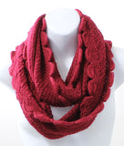 Scallop Edge Red Winter Infinity Scarf - Epethiya