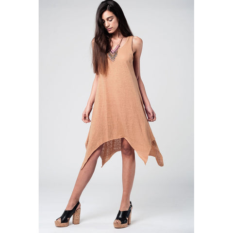 Camel Dress With Dipped Hem - Epethiya
