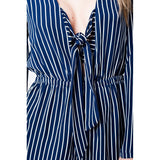 Navy striped romper with deep neckline and bow detail - Epethiya