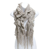 Womens Winter Knit Ruffle Beige Scarf With Fringe - Epethiya