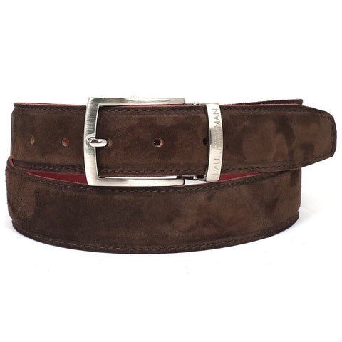 PAUL PARKMAN Men's Brown Suede Belt (ID#B06-BRW)