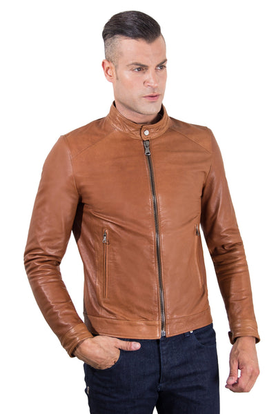 Men's Leather Jacket korean collar two pockets tan color Hamilton - Epethiya