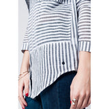 White hi lo shirt with black vertical stripes - Epethiya