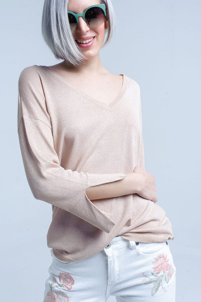 Pink knit sweater with gold lurex detail - Epethiya