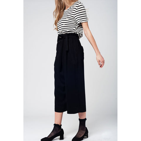 Black culotte with tie waist and stretch back - Epethiya