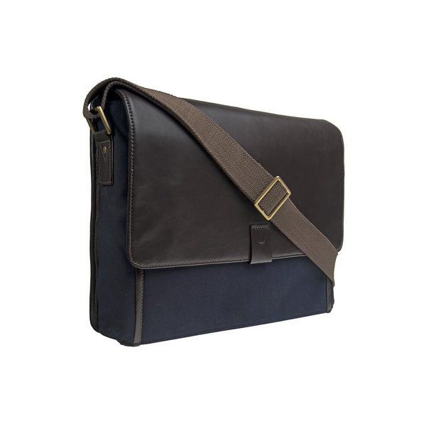 Hidesign Aiden Canvas Leather Laptop Messenger - Epethiya