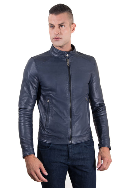 Men's Leather Jacket korean collar two pockets blue color Hamilton - Epethiya