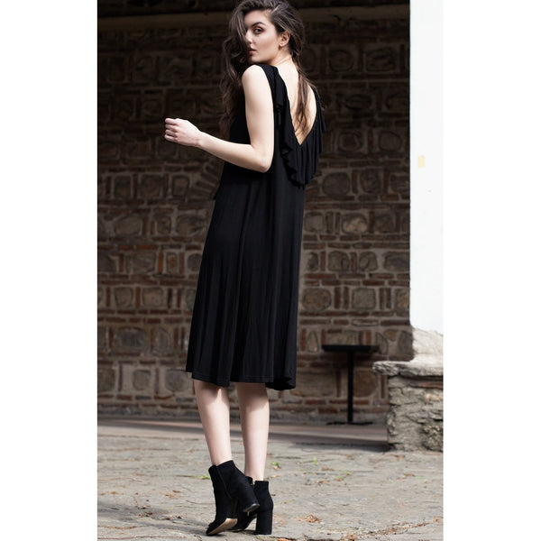 Black ruffle bareback dress - Bastet Noir - Epethiya