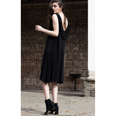 Black ruffle bareback dress - Bastet Noir