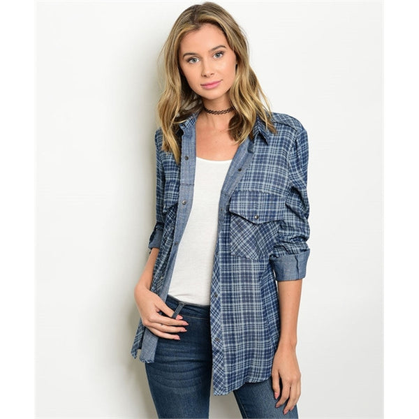 Women's Plaid Denim Button Down Checkered Shirt - Epethiya