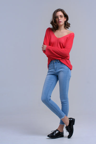 Light blue skinny jeans with fringes - Epethiya
