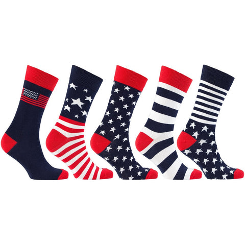 Men's 5-Pair Patriot USA American Flag Socks - Epethiya