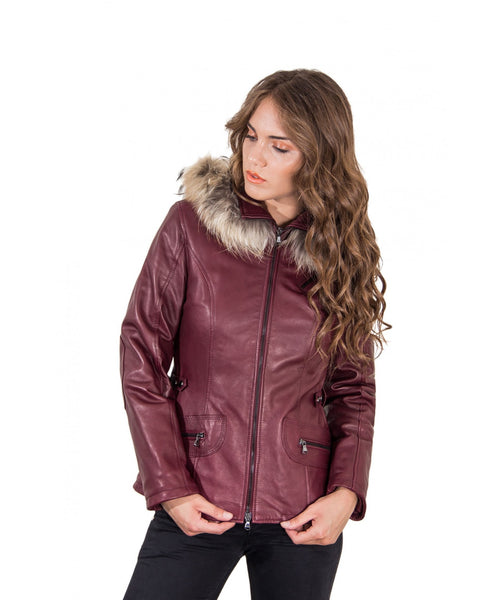 Women's Leather hooded Jacket parka with fur red purple color 627 - Epethiya