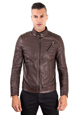 Men's Leather Jacket  genuine soft leather biker quilted yoke dark brown color U411 - Epethiya
