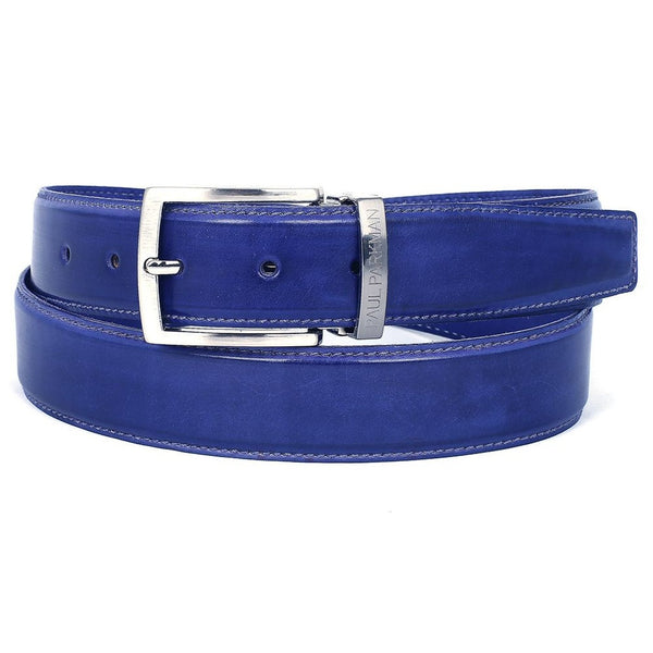 PAUL PARKMAN Men's Leather Belt Hand-Painted Cobalt Blue (ID#B01-BLU) - Epethiya