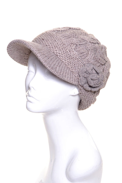 Chunky Cable Knit Beanie Wool Visor with Flower - Epethiya