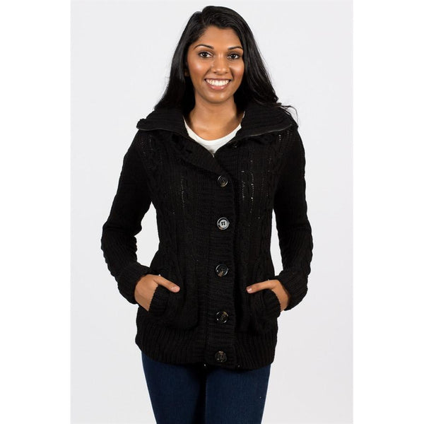 Fur Lined Cable Knit Jacket w/ Hood - Epethiya