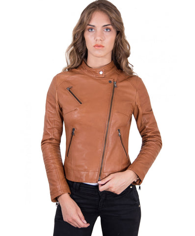 Women's Leather Jacket biker cross zip tan color Karim - Epethiya