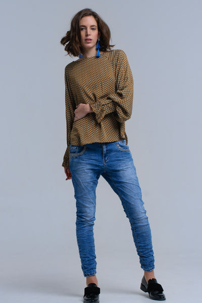 Blue skinny jeans with sequin details - Epethiya
