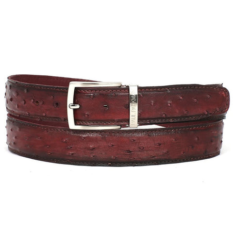 PAUL PARKMAN Men's Bordeaux Genuine Ostrich Belt (ID#B04-BRD)