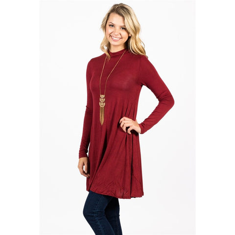 Long Sleeve Mock Neck Tunic - Epethiya
