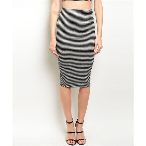 Women's Skirt Striped Black And Grey - Epethiya