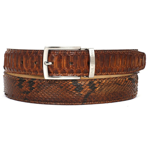 PAUL PARKMAN Men's Camel Brown Genuine Python (snakeskin) Belt (ID#B03-CMLBRW) - Epethiya