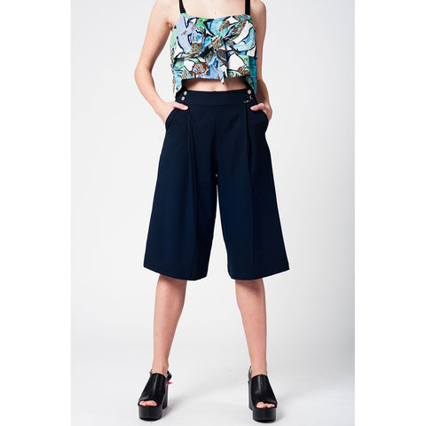 Blue navy pants skirt with silver buttons - Epethiya