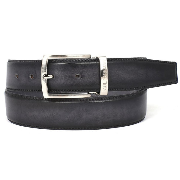 PAUL PARKMAN Men's Leather Belt Dual Tone Hand-Painted Gray & Black (ID#B01-GRY-BLK) - Epethiya