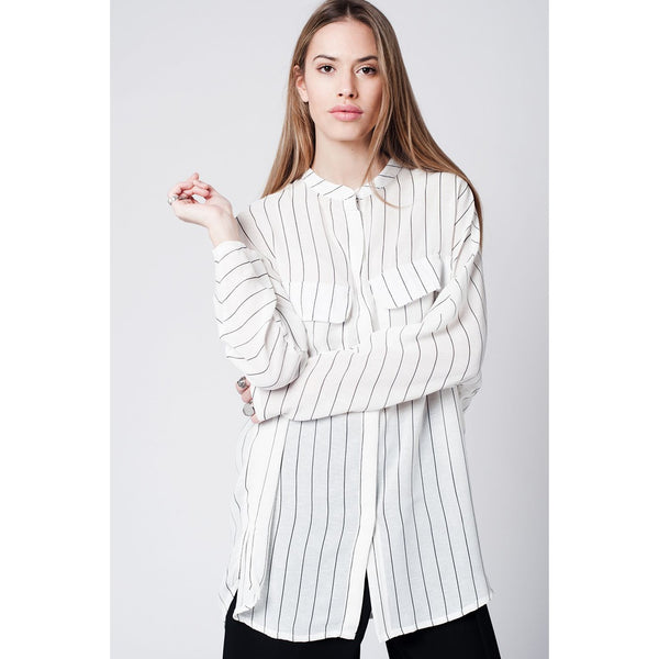 White stripe long shirt