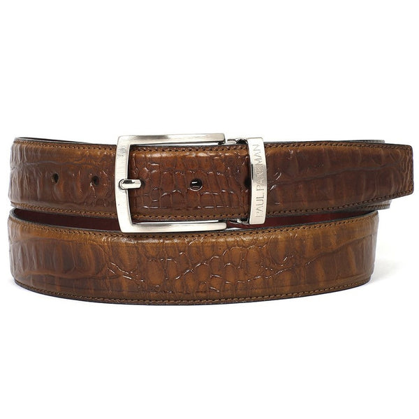 PAUL PARKMAN Men's Crocodile Embossed Calfskin Leather Belt Hand-Painted Olive (ID#B02-OLV) - Epethiya