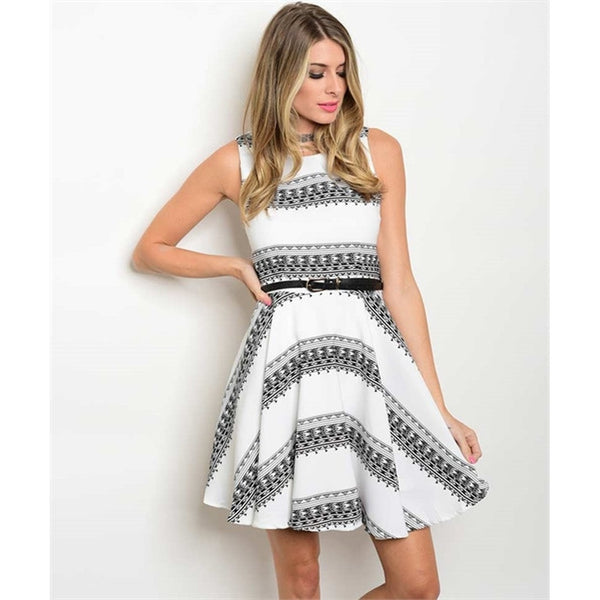 Women's Dress White And Black With Belt Party Dress - Epethiya